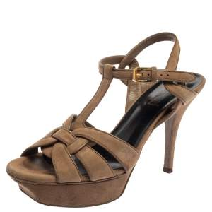 Saint Laurent Beige Suede Tribute Platform Sandals Size 37