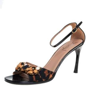 Saint Laurent Black/Brown Leopard Print Fabric and Patent Leather Embellished Ankle Strap Sandals Size 40