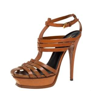 Saint Laurent Tan Leather Tribute Gladiator Sandals Size 40