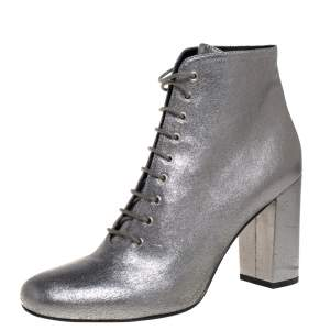 Saint Laurent Metallic Silver Leather Lace Up Boots Size 41