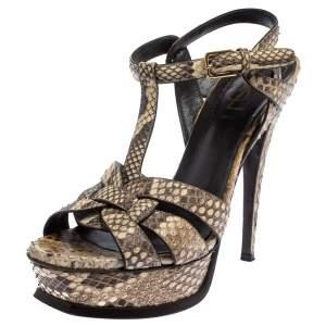 Saint Laurent Beige/Brown Python Tribute Platform Ankle Strap Sandals Size 36.5