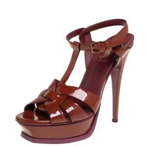 Saint Laurent Brown Patent Leather Tribute Platform Ankle Strap Sandals Size 38