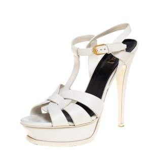 Saint Laurent White Leather Tribute Sandals Size 38.5