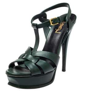 Saint Laurent Paris Green Leather Tribute Sandals Size 38.5