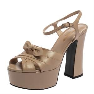 Saint Laurent Beige Leather Candy Bow Platform Sandals Size 37