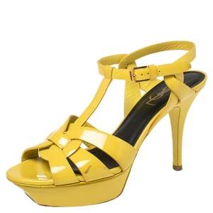 Saint Laurent Paris Yellow Leather Tribute Sandals Size 38