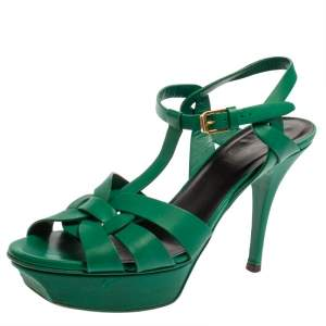 Saint Laurent Green Leather Tribute Platform Sandals Size 38