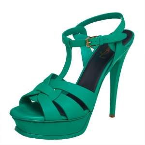 Saint Laurent Green Leather Tribute Sandals Size 39.5