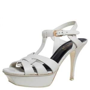 Saint Laurent White Leather Tribute Platform Ankle Strap Sandals Size 36