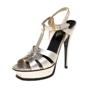 Saint Laurent Metallic Gold Textured Leather Tribute Platform Ankle Strap Sandals Size 38