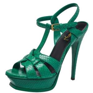 Saint Laurent Green Python Leather Tribute Sandals Size 38