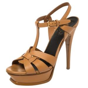 Saint Laurent Tan Leather Tribute Sandals Size 38
