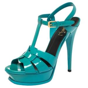 Saint Laurent Green Patent Leather Tribute  Sandals Size 38
