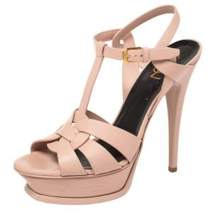 Saint Laurent Pink Leather Tribute Sandals Size 38
