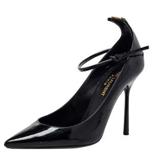 Saint Laurent Black Patent Leather Ankle Strap Pumps Size 35