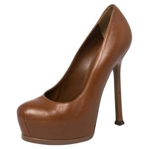 Saint Laurent Brown Leather Tribtoo Platform Pumps Size 36