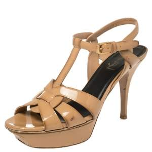 Saint Laurent Beige Patent Leather Tribute Platform Ankle Strap Sandals Size 38