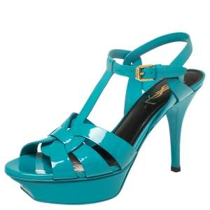 Saint Laurent Blue Patent Leather Tribute Sandals Size 37