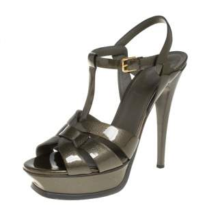 Saint Laurent Olive Green Patent Leather Tribute Platform Ankle Strap Sandals Size 39.5