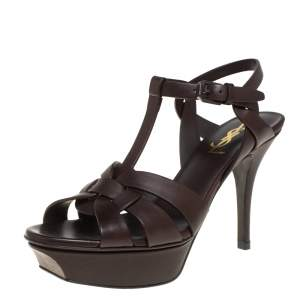 Saint Laurent Brown Leather Tribute Platform Ankle Strap Sandals Size 36.5