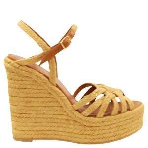Saint Laurent Brown Tribute Espadrilles Wedge Sandals Size 39
