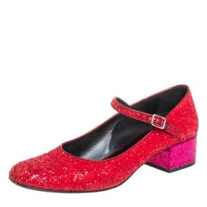 Saint Laurent Red/Pink Glitter Babies Block Heel Pumps Size 41