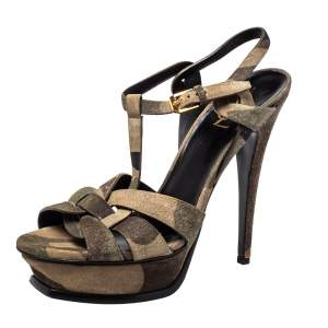 Saint Laurent Suede Camouflage Tribute Sandals Size 39