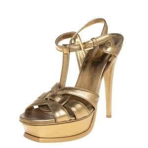 Saint Laurent Gold Leather Tribute Platform Sandals Size 38