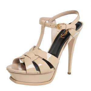 Saint Laurent Beige Patent Leather Tribute Sandals Size 39