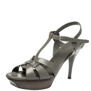 Saint Laurent Grey Leather Tribute Sandals Size 41
