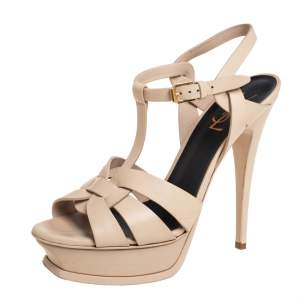 Saint Laurent Beige Leather Tribute Platform Ankle Strap Sandals Size 39