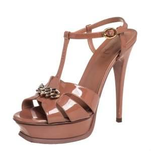 Saint Laurent  Brown Patent Leather Chain Tribute Sandals Size 37.5