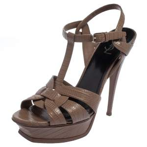 Saint Laurent Brown Lizard Embossed Leather Tribute Sandals Size 42
