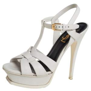 Saint Laurent White Leather Tribute Sandals Size 35.5