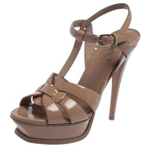 Saint Laurent Beige Patent Leather Tribute Platform Sandals Size 38