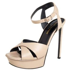 Saint Laurent Beige Leather Bianca Ankle-Strap Platform Sandals Size 36.5