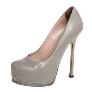Saint Laurent Grey Leather Tribtoo Platform Pumps Size 37.5