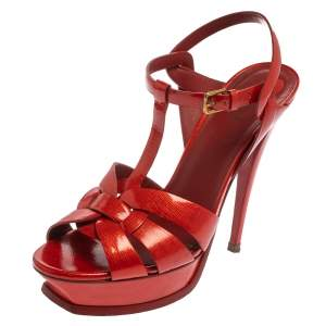 Saint Laurent Red Patent Leather Tribute Sandals Size 40