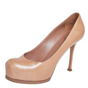 Saint Laurent Beige Patent Leather Tribtoo Platform Pumps Size 40