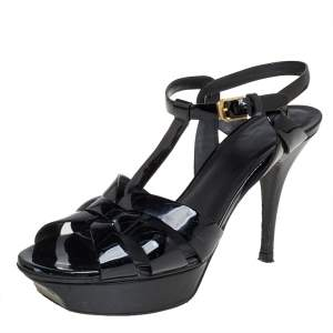 Saint Laurent Black Patent Leather Tribute Sandals Size 39