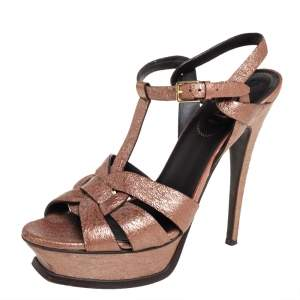 Saint Laurent Brown Leather Tribute  Sandals Size 39.5