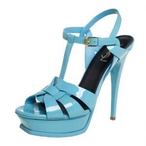 Saint Laurent Blue Patent Leather Tribute Sandals Size 39