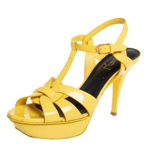 Saint Laurent Yellow Patent Leather Tribute Sandals Size 39