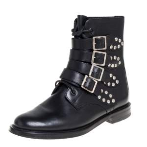 Saint Laurent Black Leather Buckle Detail Ankle Boots Size 38