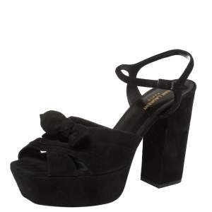 Saint Laurent Paris Black Suede Candy Platform Sandals Size 42