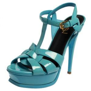 Saint Laurent Blue Patent Leather Tribute Sandals Size 38