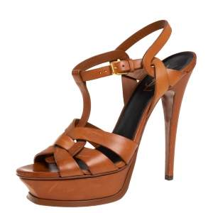 Saint Laurent Brown Leather Tribute Platform Ankle Strap Sandals Size 38.5