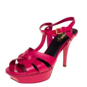 Saint Laurent Pink Leather Tribute Sandals Size 38.5