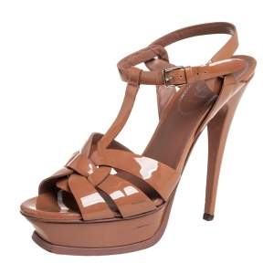 Saint Laurent Brown Patent Leather Tribute Sandals Size 38.5