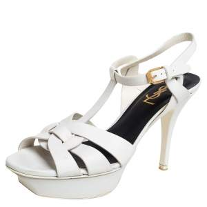 Saint Laurent Paris Off White Leather Tribute  Ankle Strap Sandals Size 38